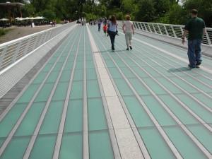 the glass walkway on the Sundial Bridge