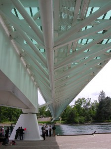 a view underneath the Sundial Bridge