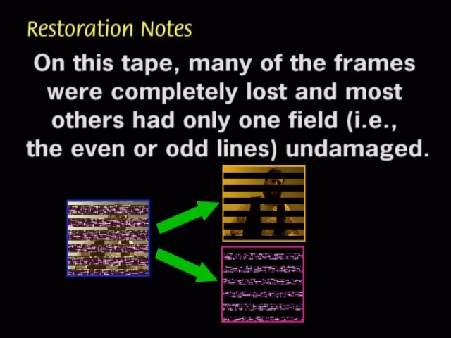 On this tape, many of the frames were completely lost and most others had only one field (i.e., the even or odd lines) undamaged.