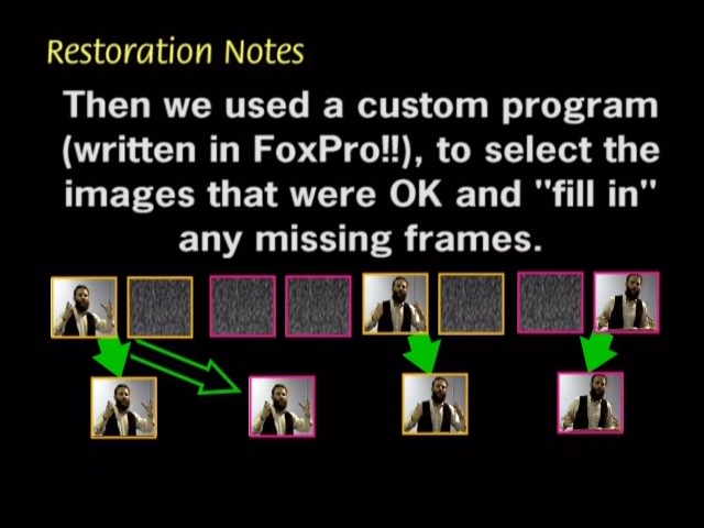 Then we used a custom program written in FoxPro to select the images that were OK and 'fill in' any missing frames.